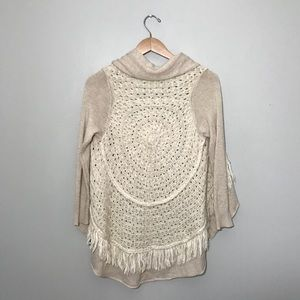 Anthro Knitted and Knotted Circle Fringe Cardigan